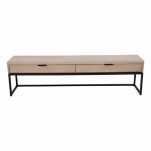Szafka pod TV z 2 szufladami z drewna jesionu i metalową konstrukcją Canett Cara, szer. 160 cm