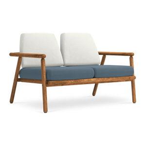 Jasnoszaro-niebieska sofa ogrodowa z konstrukcją z litego drewna akacji Calme Jardin Capri