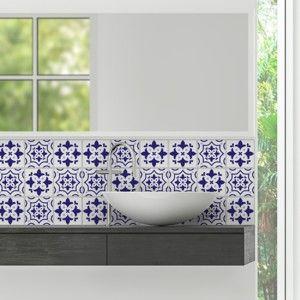 Zestaw 9 naklejek ściennych Ambiance Cement Tiles Alberto, 10x10 cm