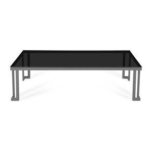 Czarny szklany stół ogrodowy w szarej ramie Calme Jardin Cannes, 60x150 cm