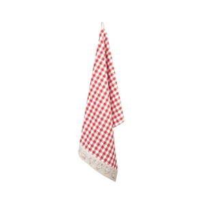 Czerwona bawełniana ścierka kuchenna Clayre & Eef Hen, 50x85 cm