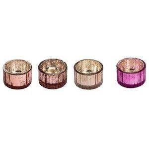 Zestaw 4 różowych świeczników na świeczki herbaciane Ego Dekor