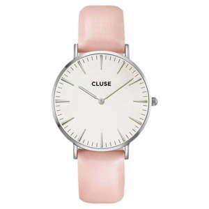 Damski zegarek z różowym skórzanym paskiem Cluse La Bohéme