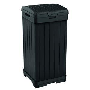 Czarny ogrodowy kosz na śmieci na kółkach Keter, 125 l