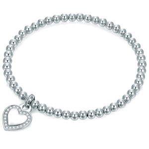 Damska bransoletka w kolorze srebra z sercem