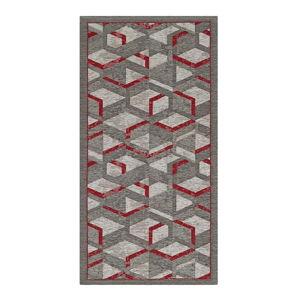 Szaro-czerwony chodnik Floorita Hypnotik, 55x115 cm