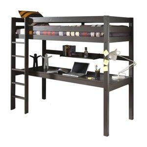 Ciemnobrązowe łóżko piętrowe z biurkiem Vipack Pino, 200x105 cm