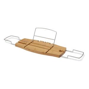 Bambusowa półka na wannę ze stojakiem na książkę i kieliszek Umbra
