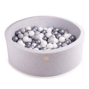 Jasnoszary basen dla dzieci z 200 piłkami MeowBaby Silver, ø 90x30 cm