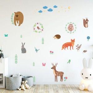 Zestaw dziecięcych naklejek ściennych Ambiance Scandinavian Animals of The Forest