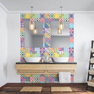 Zestaw 24 naklejek ściennych Ambiance Wall Decal Cement Tiles Azulejos Emilifia, 10x10 cm