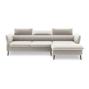 Beżowa 5-osobowa sofa rozkładana ze schowkiem Milo Casa Dario, prawy róg