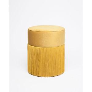 Żółty puf z aksamitnym obiciem Velvet Atelier, ø 36 cm