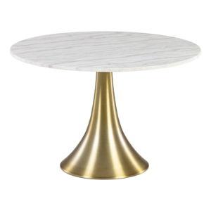 Biały okrągły stół do jadalni w dekorze marmuru La Forma, ø 120 cm