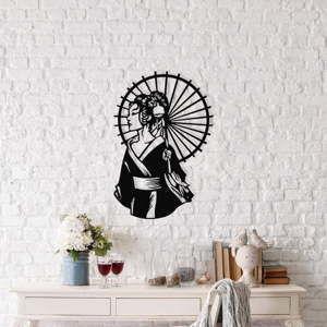 Czarna metalowa dekoracja ścienna Geisha, 35x52 cm