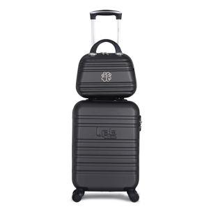 Zestaw czarnej walizki fakturowanej z 4 kółkami i kosmetyczki LPB Aurelia