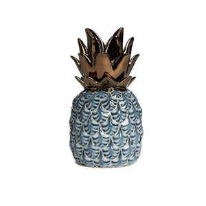Niebieski ceramiczny ananas dekoracyjny Simla Nanas, wys. 22 cm