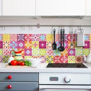 Zestaw 30 naklejek ściennych Ambiance Wall Stickers Cement Tiles Heloisa, 10x10 cm