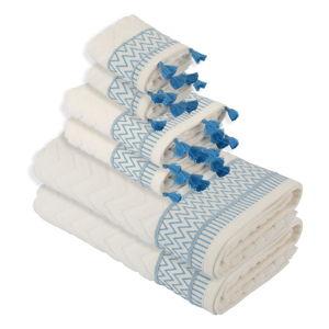 Komplet 6 niebiesko-białych ręczników Bella Maison Karma