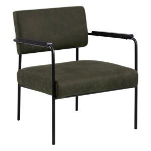 Ciemnooliwkowy fotel z aksamitnym obiciem Actona Cloe