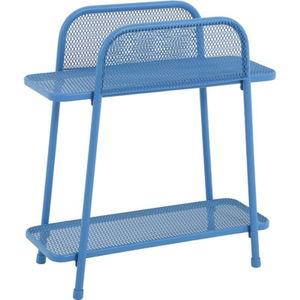 Niebieski metalowy stolik na balkon ADDU MWH, wys. 70 cm