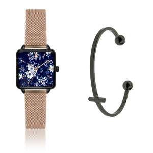Komplet zegarka damskiego w barwie różowego złota i bransoletki ze stali nierdzewnej Emily Westwood Jardin