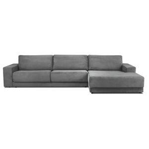 Szara XXL 6-osobowa sofa rozkładana Milo Casa Donatella, prawy róg
