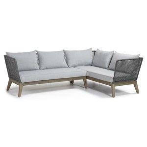 Jasnoszara ogrodowa sofa narożna La Forma Relax
