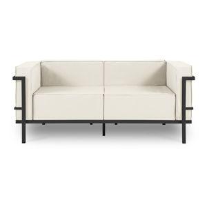 Beżowa 2-osobowa sofa ogrodowa w czarnej ramie Calme Jardin Cannes
