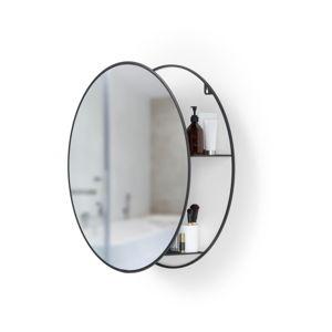 Okrągłe lustro ścienne z czarną metalową półką Umbra Cirko
