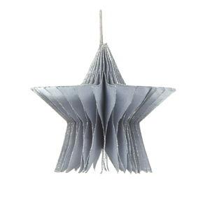 Papierowa ozdoba świąteczna w kształcie gwiazdy w kolorze srebra Only Natural, dł. 7,5 cm