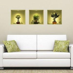 Zestaw 3 naklejek 3D Ambiance Bonsai Trees On Spot
