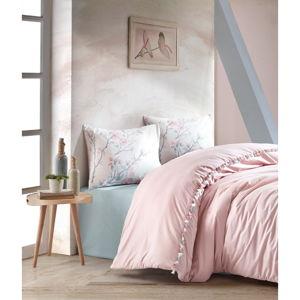 Różowa pościel bawełniana z prześcieradłem Cotton Box Linda, 200x220 cm