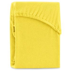 Żółte elastyczne prześcieradło dwuosobowe AmeliaHome Ruby Yellow, 200-220x200 cm