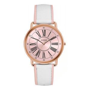 Damski zegarek z białym paskiem ze skóry naturalnej Guess W0032L8