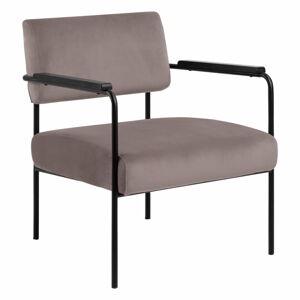 Pudroworóżowy aksamitny fotel Actona Cloe
