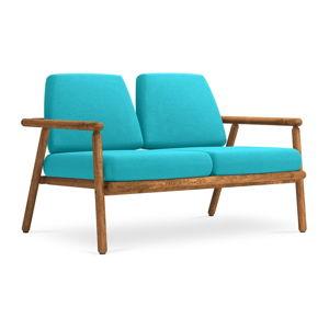 Turkusowa sofa ogrodowa z konstrukcją z litego drewna akacji Calme Jardin Capri
