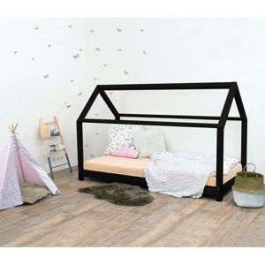 Czarne łóżko dziecięce z drewna świerkowego Benlemi Tery, 120x190 cm