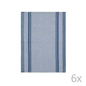 Komplet 6 niebieskich bawełnianych ścierek Tiseco Home Studio Waffle, 50x70 cm