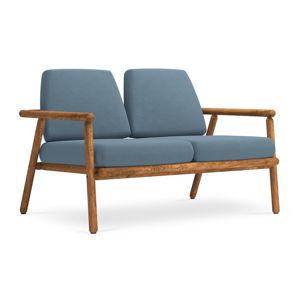 Niebieska sofa ogrodowa z konstrukcją z litego drewna akacji Calme Jardin Capri