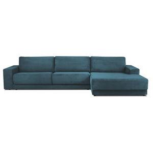Niebieska XXL 6-osobowa sofa rozkładana Milo Casa Donatella, prawy róg
