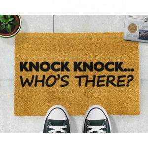 Wycieraczka z naturalnego włókna kokosowego Artsy Doormats Knock Knock, 40x60 cm
