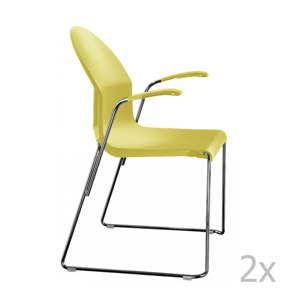 Komplet 2 żółtych krzeseł z podłokietnikami Magis Aida