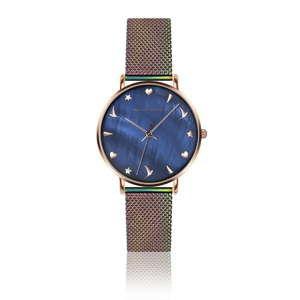 Zegarek damski z tęczowym paskiem ze stali nierdzewnej Emily Westwood Daisy