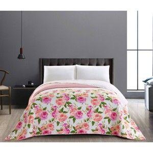 Różowo-biała dwustronna narzuta z mikrowłókna DecoKing English Rose, 260x280cm