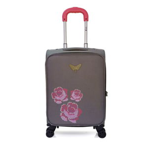 Szara walizka podręczna z 4 kółkami LPB Joanna, 40 l