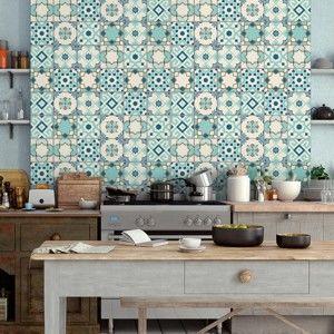 Komplet 30 samoprzylepnych naklejek Ambiance Cement Tiles Franzy, 10x10 cm