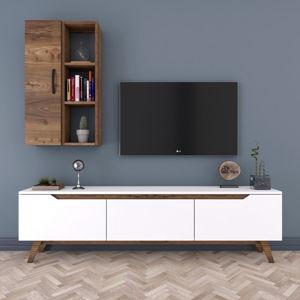 Zestaw białej szafki pod TV i szafki ściennej w dekorze drewna orzechowego Wren