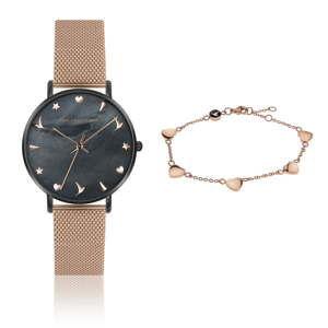 Komplet zegarka damskiego w barwie różowego złota i bransoletki ze stali nierdzewnej Emily Westwood Kim