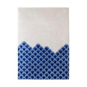 Niebiesko-biały dywan z czystej wełny HARTÔ Marin, 170x240 cm